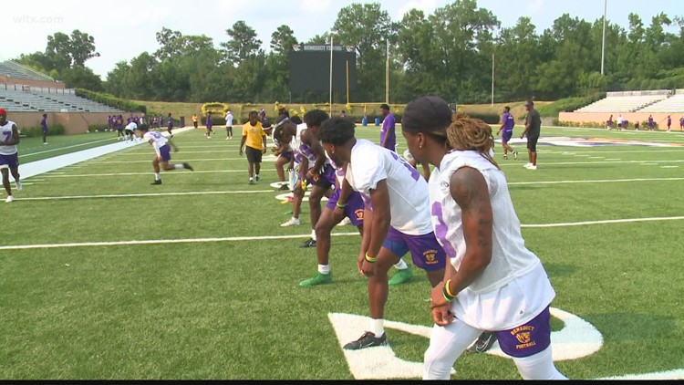 Benedict College football holds a brief opening practice of the preseason