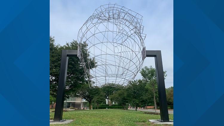 Her Heart sculpture honoring Anastasia Chernoff in the Vista