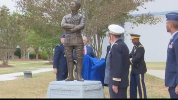 Statue of world's first black fighter pilot unveiled at Museum of Aviation
