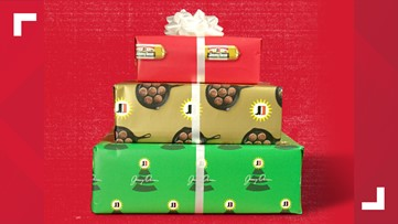 Spread Christmas cheer with sausage scented wrapping paper