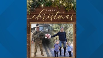 Military family incorporates husband serving overseas into Christmas cards