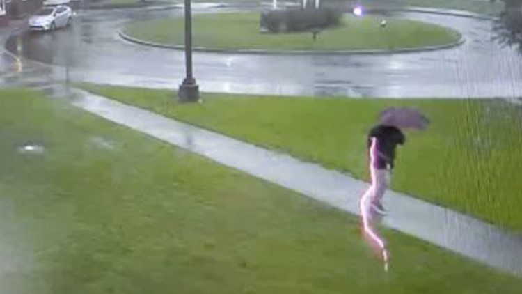 Scary video shows man nearly struck by lightning