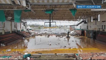 Drone flies through Panama City school gym damaged by Hurricane Michael