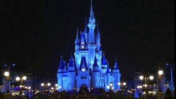Disney World lights up Cinderella's Castle in blue to thank health care workers