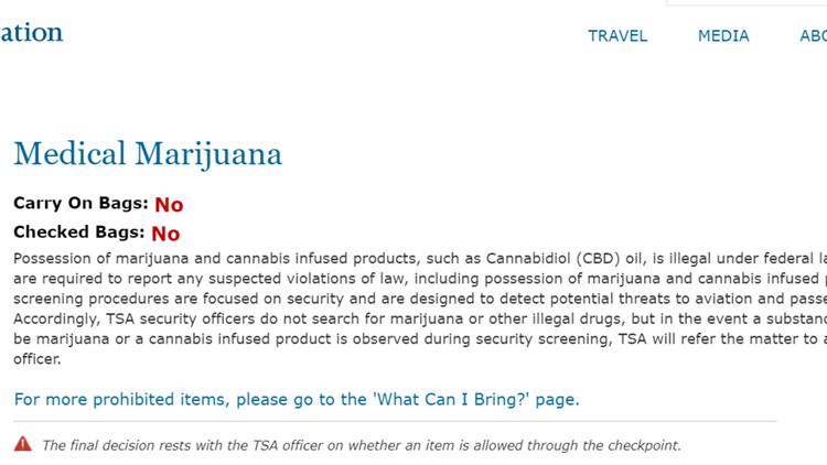 Screengrab from TSA website on May 11, 2019