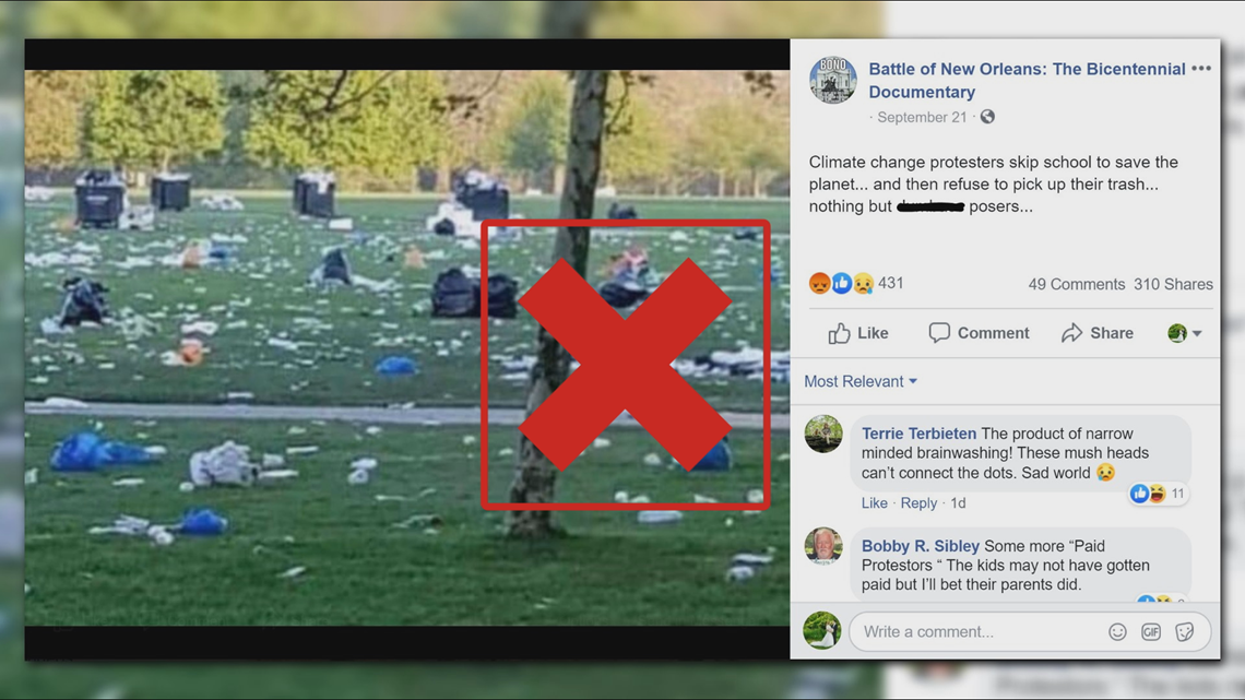 VERIFY: Miscaptioned photo circulates accusing climate change protesters of leaving heaps of litter