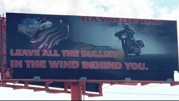 Billboard appears with intense language causing controversy