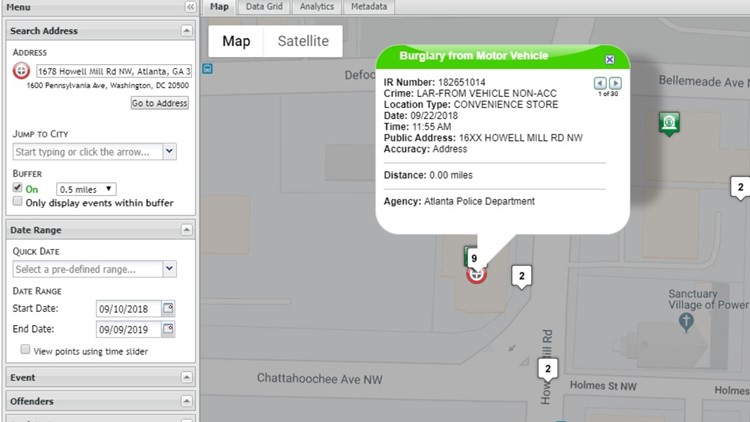 Google crime maps for Quick Trip Howell Mill